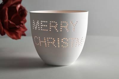 Porzellan-Becher Weihnacht, Teelichthalter Windlicht Lichterzauber Tealight Cups - 1