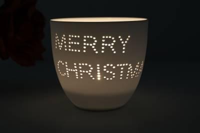 Porzellan-Becher Weihnacht, Teelichthalter Windlicht Lichterzauber Tealight Cups