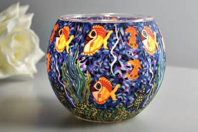 Leuchtglas 21001 Aquarium Ø11cm Dekoration Teelicht Windlicht Kerzenfarm Kerze - 1
