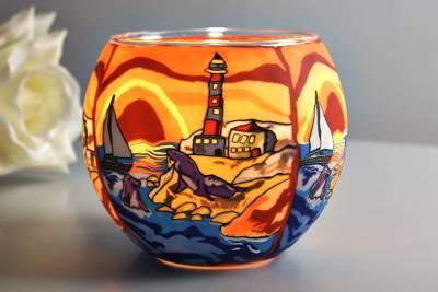 Leuchtglas 21002 Seaside Ø11cm Dekoration Teelicht Windlichthalter Kerzenfarm Kerze - 1
