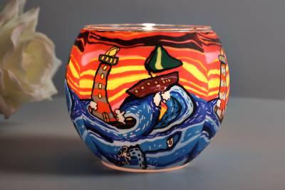 Leuchtglas 21003 Waves Ø11cm Dekoration Teelicht Windlichthalter Kerzenfarm Kerze - 1