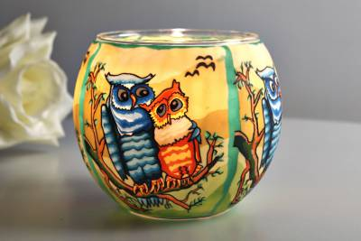 Leuchtglas 21110 Owls by day Ø11cm Dekoration Teelicht Windlichthalter Kerzenfarm - 1