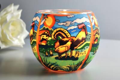 Leuchtglas 21120 Hahn Ø11cm Dekoration Teelicht Windlichthalter Kerzenfarm - 1