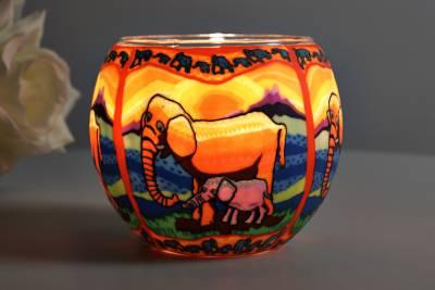 Leuchtglas 21121 Elefant Ø11cm Dekoration Teelicht Windlichthalter Kerzenfarm - 1