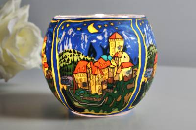 Leuchtglas 21635 Schloss Tirol Ø11cm Dekoration Teelicht Windlicht Kerzenfarm Kerze - 1