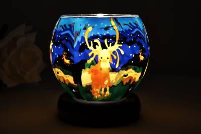 Leuchtglas als Lampe 21107, Elche Ø11cm Dekoration Teelicht Windlicht Kerzenfarm Kerze