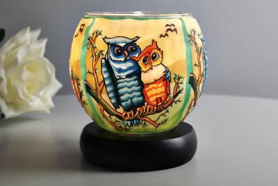 Leuchtglas Lampe 21110 Owls Ø11cm Dekoration Teelicht Windlicht Kerzenfarm Kerze - 1
