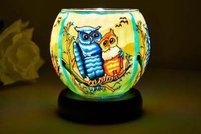 Leuchtglas Lampe 21110 Owls Ø11cm Dekoration Teelicht Windlicht Kerzenfarm Kerze