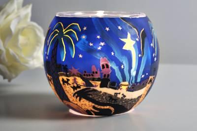 Leuchtglas 21823 Bethlehem Ø11cm Dekoration Teelicht Windlicht Kerzenfarm Kerze - 1