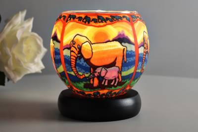 Leuchtglas Lampe 21121 Elefanten Ø11cm Dekoleuchte Teelicht Windlicht Kerzenfarm - 1