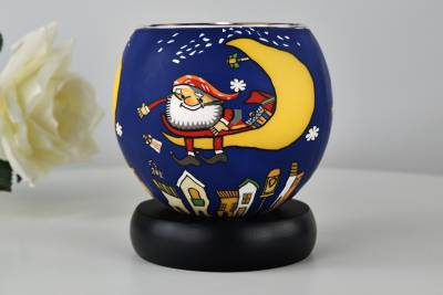 Leuchtglas Lampe Kerzenfarm 21824 Santa on the moon Ø11cm Windlicht Dekoleuchte - 0