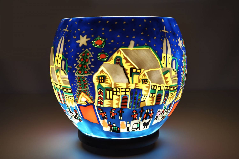 Leuchtglas XXL Lampe elektrisch 811 Snowy Village Ø30cm Dekoleuchte Windlicht Kerzenfarm - 2