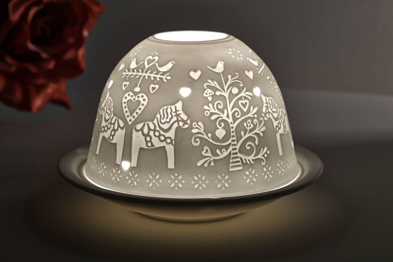 Kerzenfarm Hahn Dome Light Nr. 32806 nordisches Pferd - Teelicht Windlicht Porzellanteelicht - 2