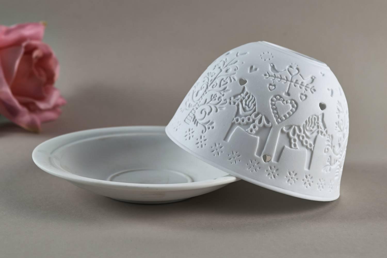 Kerzenfarm Hahn Dome Light Nr. 32806 nordisches Pferd - Teelicht Windlicht Porzellanteelicht - 3