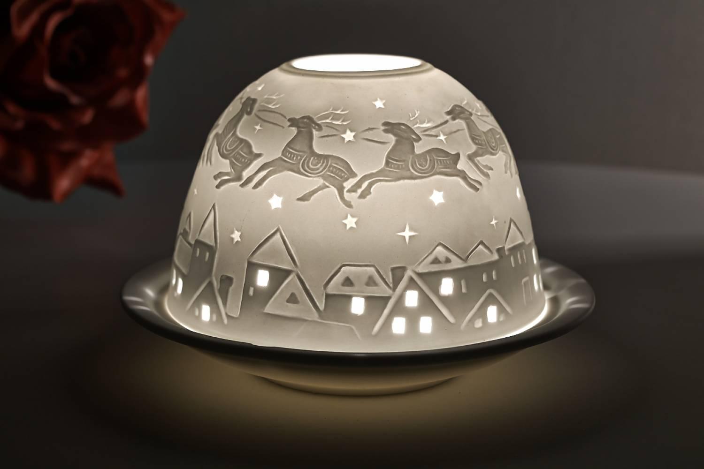 Kerzenfarm Hahn Dome Light, Nr. 32810 Bescherung - Teelicht Windlicht Dekoration Porzellanteelicht - 2