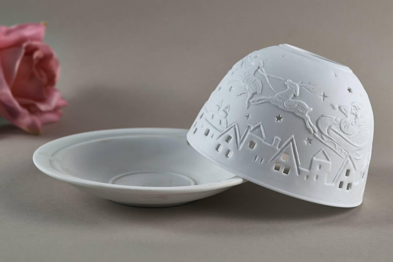 Kerzenfarm Hahn Dome Light, Nr. 32810 Bescherung - Teelicht Windlicht Dekoration Porzellanteelicht - 3