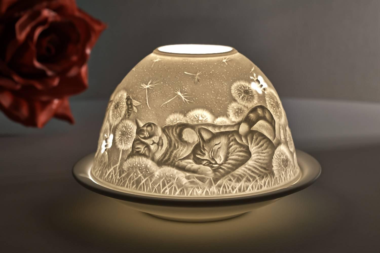 Kerzenfarm Hahn Dome Light, Nr. 30171 Hauskatzen - Teelicht Windlicht Dekoration Porzellanteelicht - 2