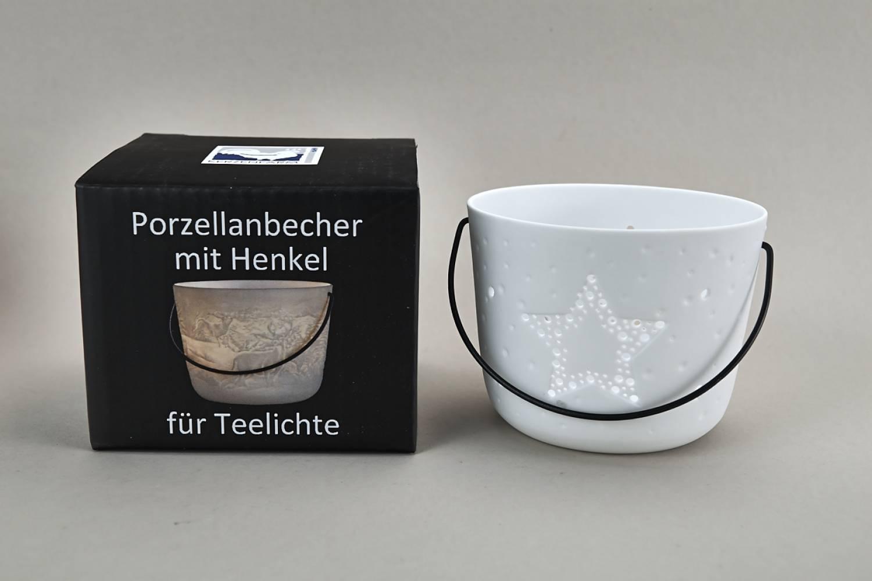 Kerzenfarm Hahn Windlichthalter 32973 Becher mit Henkel, Stern, Teelichthalter, Porzellan - 2