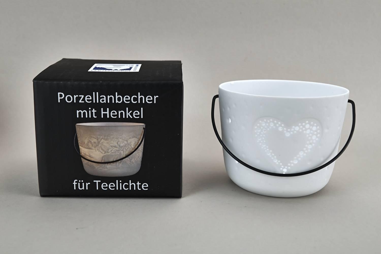 Kerzenfarm Hahn Windlichthalter 32971 Becher mit Henkel, Herz, Teelichthalter, Porzellan - 2