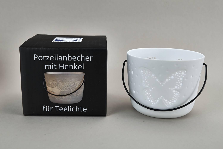 Kerzenfarm Hahn Windlichthalter 32972 Becher mit Henkel, Schmetterling, Teelichthalter, Porzellan - 2