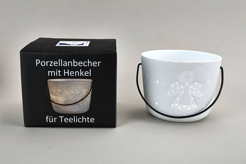 Kerzenfarm Hahn Windlichthalter 32974 Becher mit Henkel, Engel, Teelichthalter, Porzellan - 2