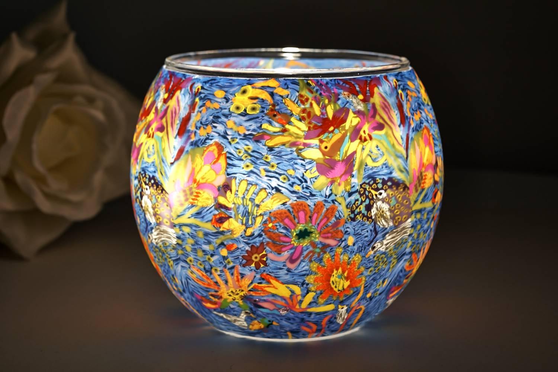 Leuchtglas 21415 Dream of Blossom 11cm Kerzenhalter Teelicht Windlicht Kerzenfarm - 2