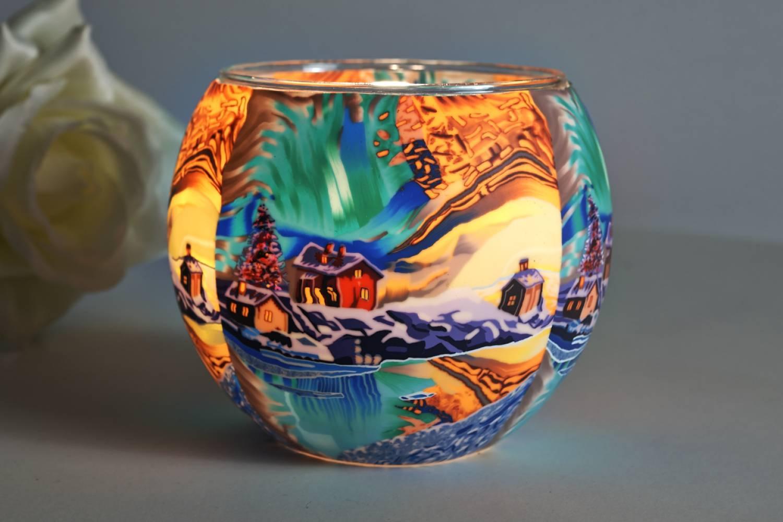 Leuchtglas 305 Stained glass 11cm Dekolicht Teelicht Windlichthalter Kerzenfarm