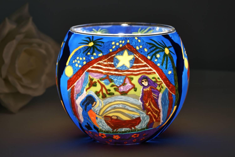Leuchtglas 21828 Nativity 11cm Kerzenhalter Teelicht Windlicht Kerzenfarm Deko - 2