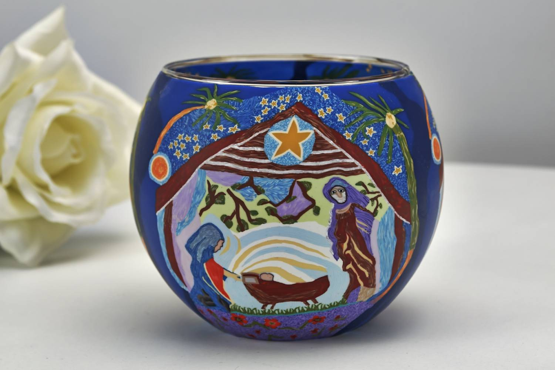 Leuchtglas 21828 Nativity 11cm Kerzenhalter Teelicht Windlicht Kerzenfarm Deko - 3