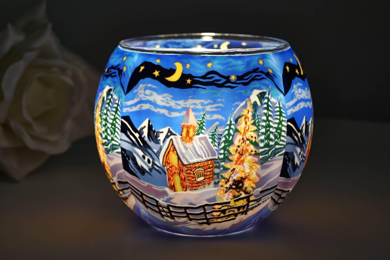 Leuchtglas 21829 Silence 11cm Kerzenhalter Teelicht Windlicht Kerzenfarm Deko - 2