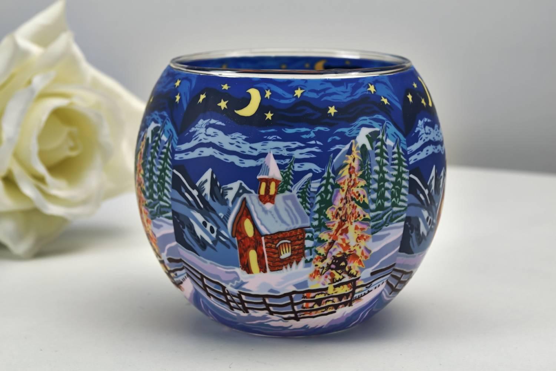 Leuchtglas 21829 Silence 11cm Kerzenhalter Teelicht Windlicht Kerzenfarm Deko - 3