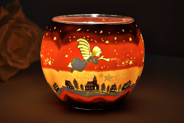 Leuchtglas 21830 Angel 11cm Kerzenhalter Teelicht Windlicht Kerzenfarm Deko - 2