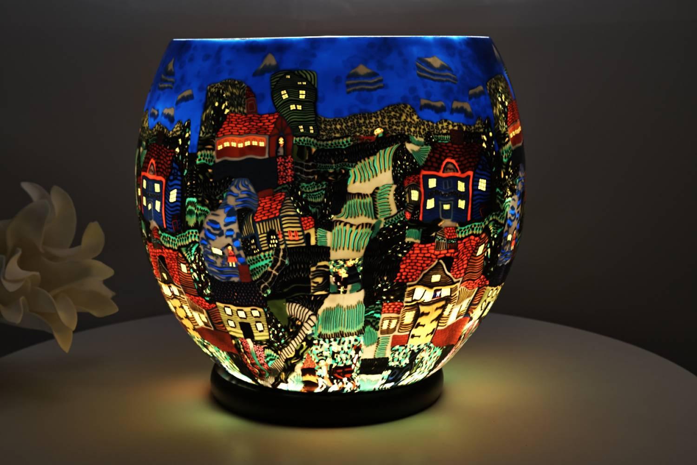 Leuchtglas XXL Lampe elektrisch 604 American Village Ø30cm Dekoleuchte Windlicht Kerzenfarm - 2