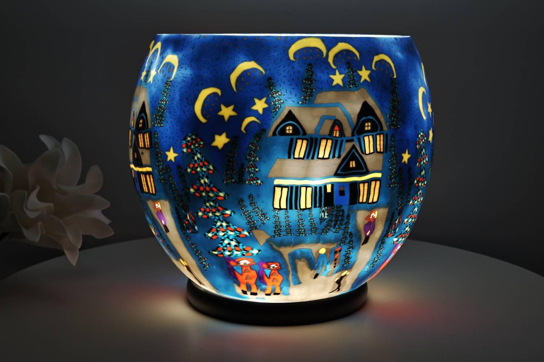 Leuchtglas elektrisch, XXL Lampe 814 Winter 30cm Dekoleuchte Windlicht Kerzenfarm - 2
