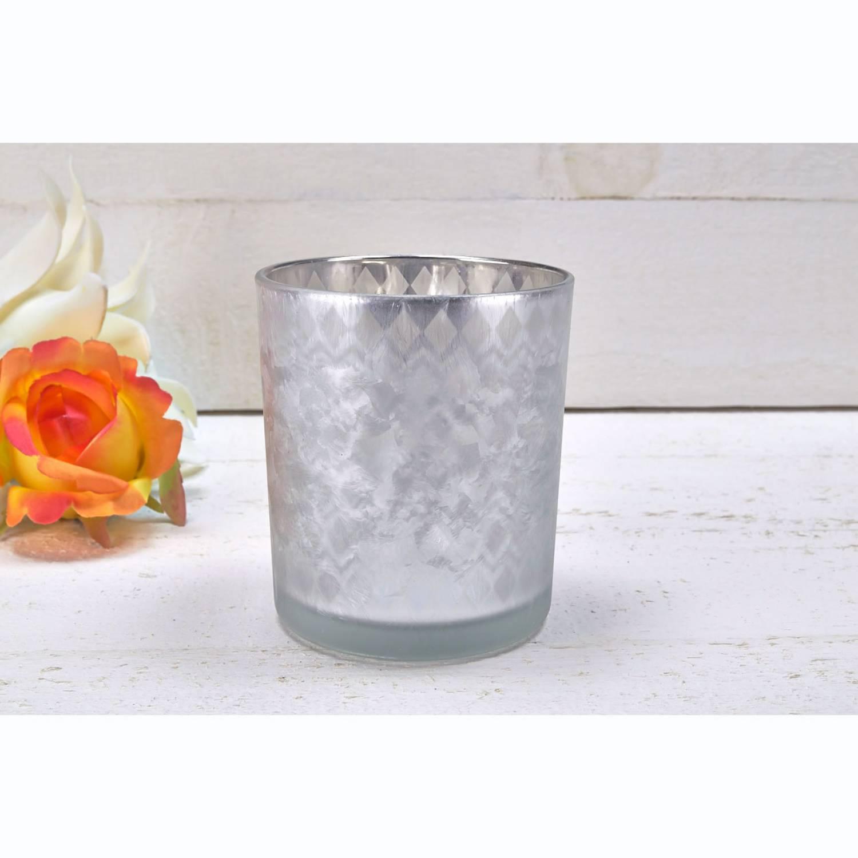 glas windlicht braun silber brau verspiegelt vereist stumpenkerze teelicht ebay. Black Bedroom Furniture Sets. Home Design Ideas