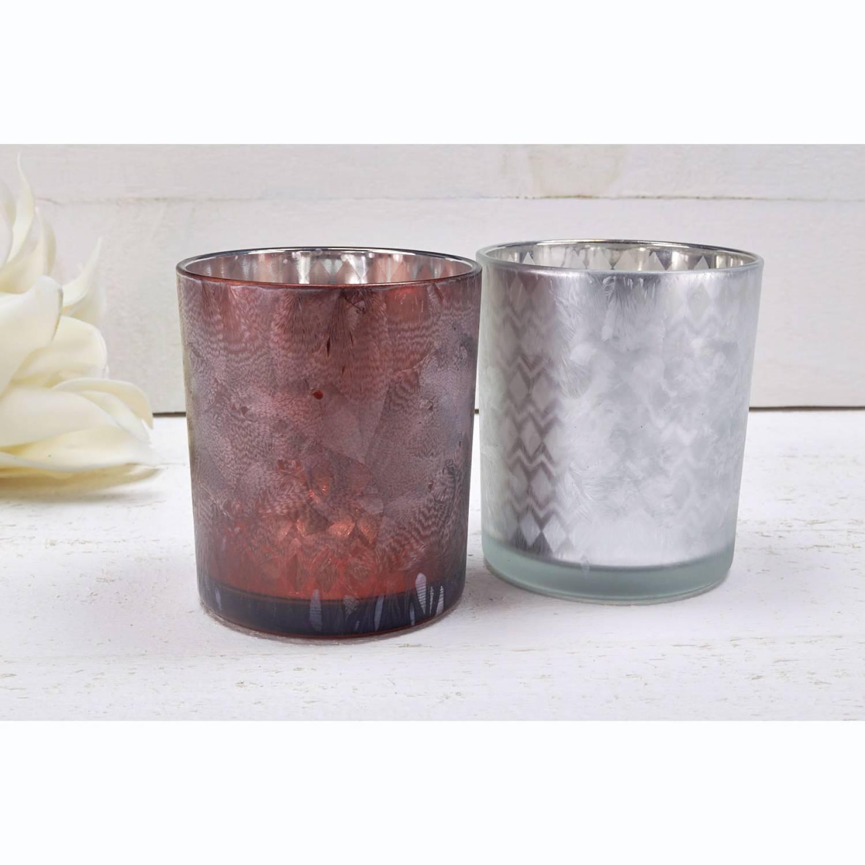 Glas-Windlicht, silber, verspiegelt, vereist, Stumpenkerze, Teelichthalter - 2