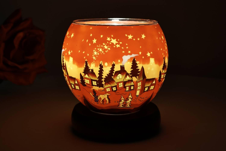 Leuchtglas 831 Winter village 11cm Kerzenhalter Teelicht Windlicht Kerzenfarm - 2