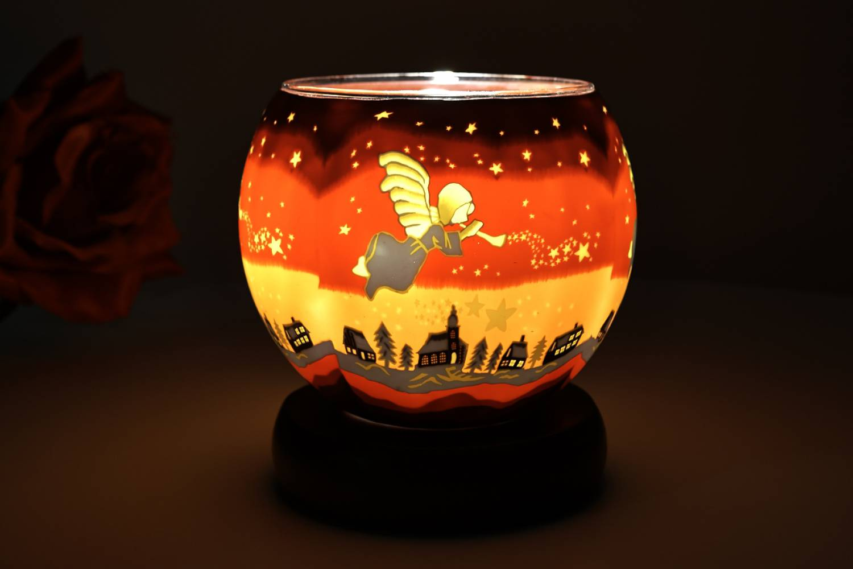 Leuchtglaslampe 21830 Angel 11cm Tischlampe Kerzenfarm Dekoleuchte, Licht - 2