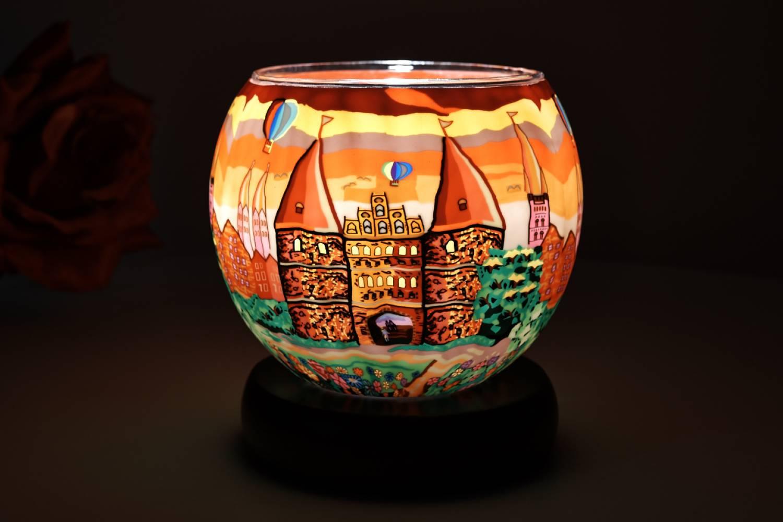 Leuchtglas 21628 Lübeck 11cm Tischlampe, Dekoleuchte, Licht, Kerzenfarm - 2
