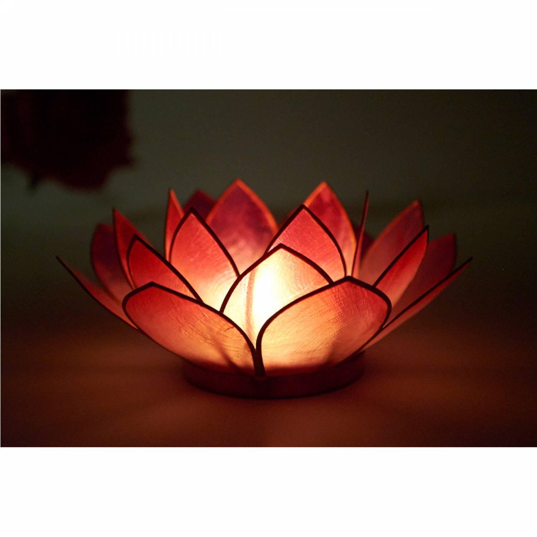Lotosblüte, filigraner Teelichthalter, Windlichthalter rot, transparente Capiz-Muschel - 3