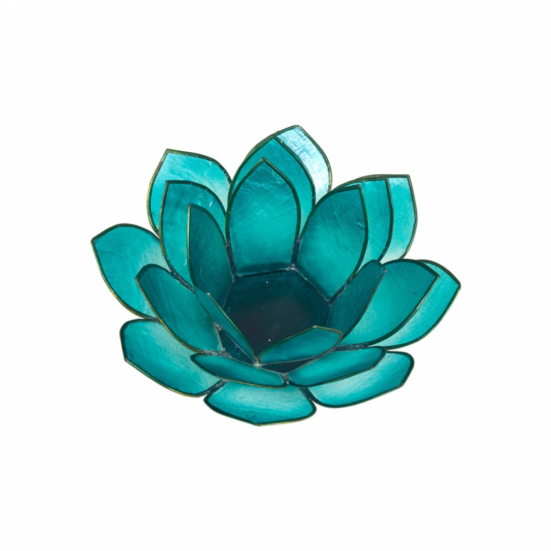Lotosblüte, filigraner Teelichthalter, Windlichthalter türkis, transparente Capiz-Muschel - 2