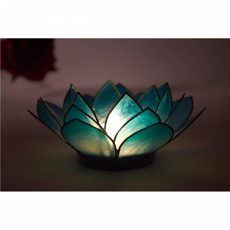 Lotosblüte, filigraner Teelichthalter, Windlichthalter türkis, transparente Capiz-Muschel - 3