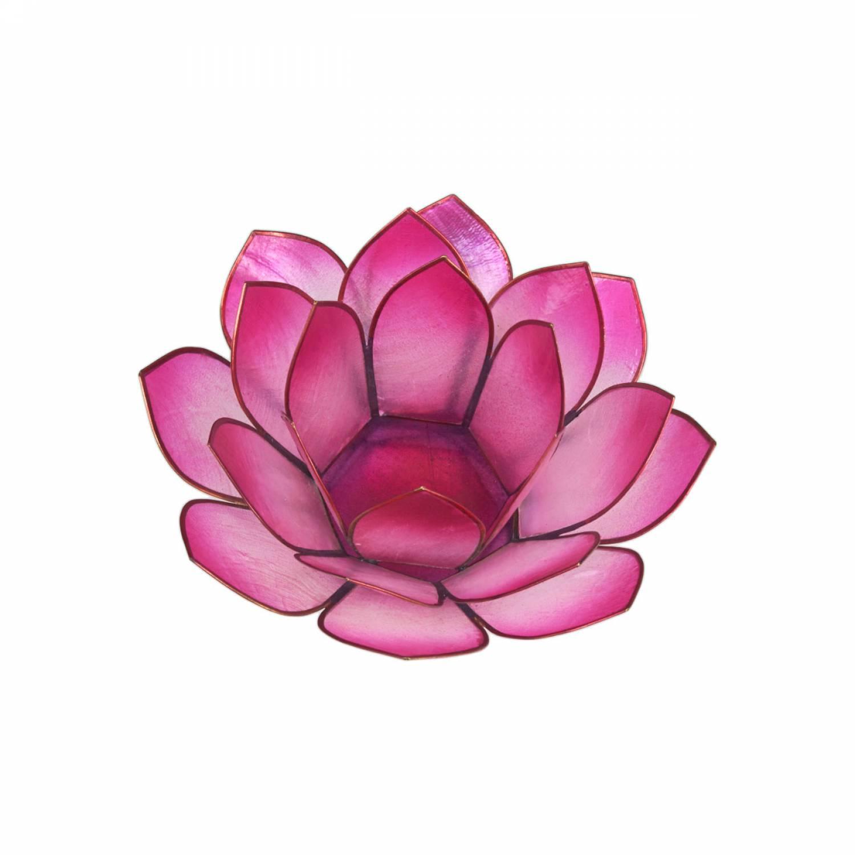 Lotosblüte, filigraner Teelichthalter, Windlichthalter pink, rosa, transparente Capiz-Muschel - 2