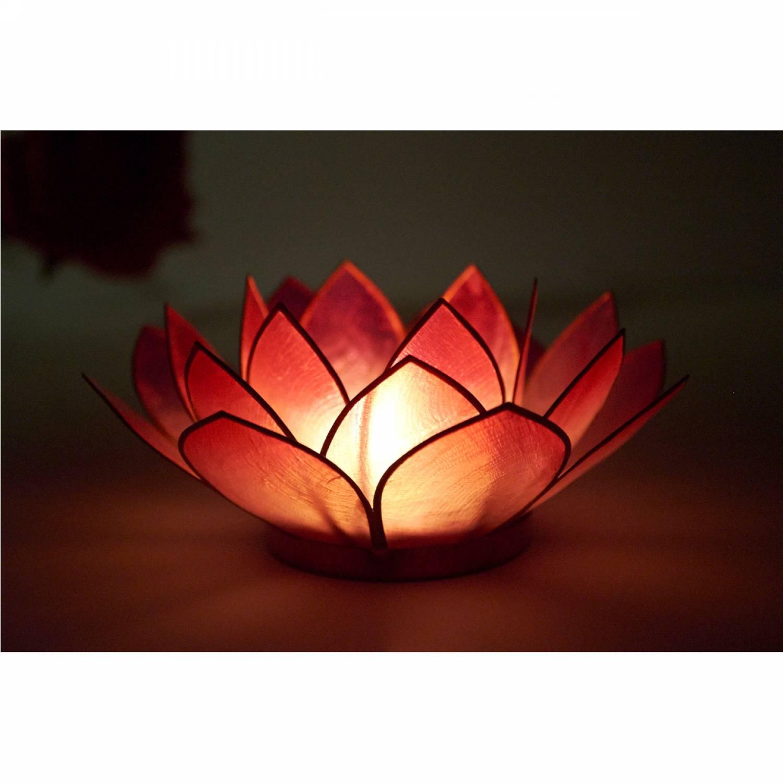 Lotosblüte, filigraner Teelichthalter, Windlichthalter pink, rosa, transparente Capiz-Muschel - 3