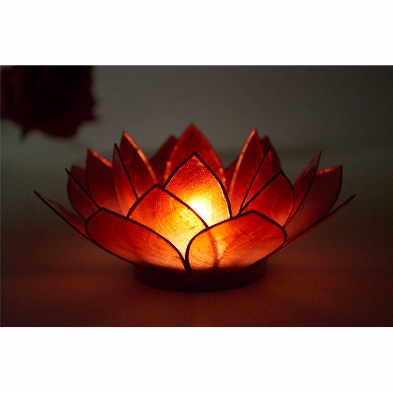 Lotosblüte, filigraner Teelichthalter, Windlichthalter dunkelrot, transparente Capiz-Muschel - 3