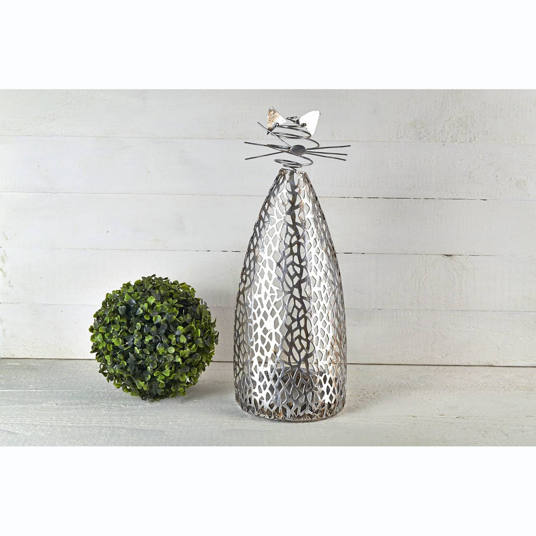 katze purley metall silber antik kerzenhalter kerzenst nder deko h he 42cm leuchtglas. Black Bedroom Furniture Sets. Home Design Ideas
