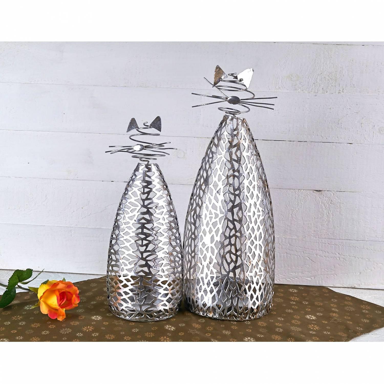 Katze Purley Metall Silber Antik Kerzenhalter