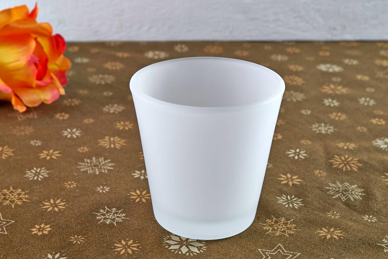 teelichtglas teelichthalter gefrostet windlichthalter deko kerze glas f r teelichter. Black Bedroom Furniture Sets. Home Design Ideas