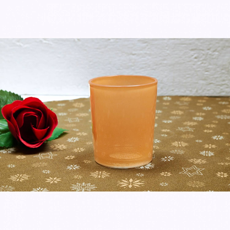 teelichtglas orange teelichthalter glas f r teelichter windlicht uni leuchtglas versand der. Black Bedroom Furniture Sets. Home Design Ideas