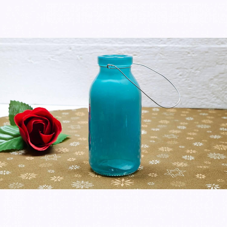 Deko Flasche Turkis Glasflasche Dekoflasche Vase Tischdeko